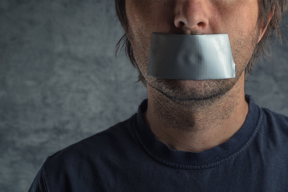 Censorship Concept, Man With Duct Tape On Mouth