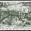 IRELAND - CIRCA 1969: A stamp printed in Ireland issued for the 50th anniversary of Dail Eireann (1st National Parliament) shows Dail Eireann Assembly, circa 1969.