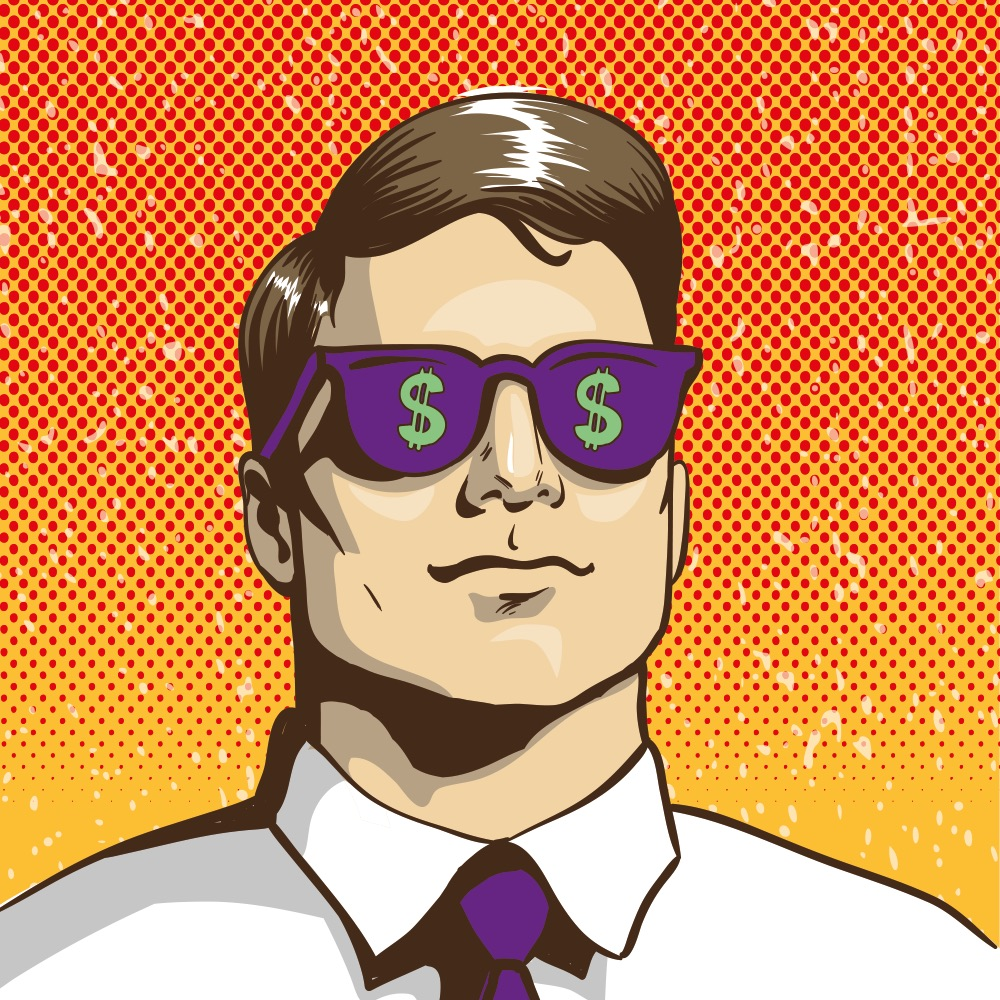 businessman with sunglasses with dollar signs